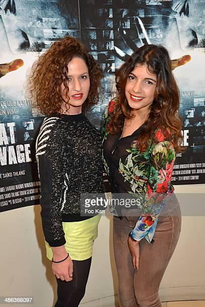 Melissa Silveira Sanchez and Donia Eden attend 'L'Etat Sauvage' Paris Premiere at Cinema Arlequin on April 23 2014 in Paris France