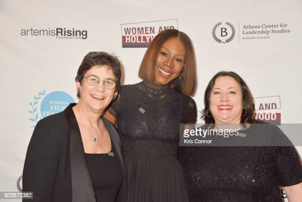 Melissa Silverstein Amma Asante and Kathryn Kolbert attend the 2018 Athena Film Festival Awards Ceremony at The Diana Center At Barnard College on...