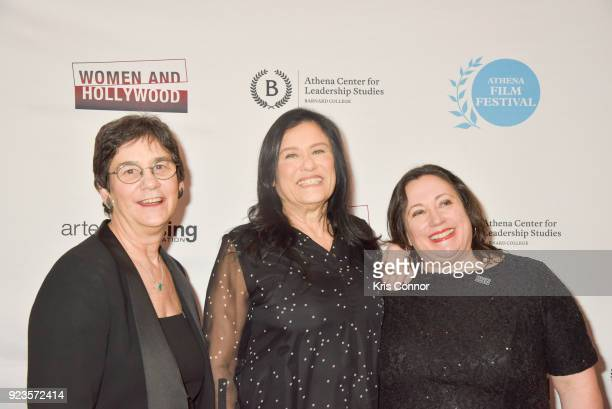 Melissa Silverstein Barbara Kopple and Kathryn Kolbert attend the 2018 Athena Film Festival Awards Ceremony at The Diana Center At Barnard College on...