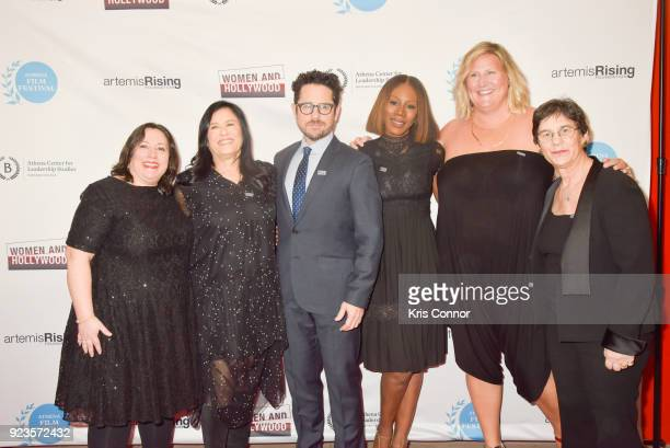 Melissa Silverstein Barbara Kopple JJ Abrams Amma Asante Bridget Everett and Kathryn Kolbert attend the 2018 Athena Film Festival Awards Ceremony at...