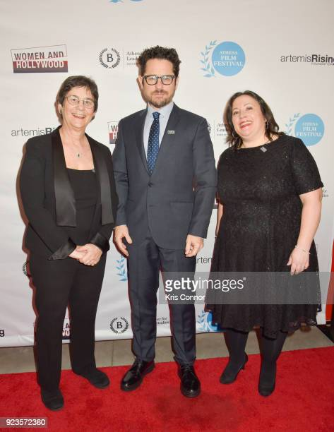 Melissa Silverstein JJ Abrams and Kathryn Kolbert attend the 2018 Athena Film Festival Awards Ceremony at The Diana Center At Barnard College on...