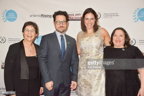 Melissa Silverstein JJ Abrams Sian Beilock and Kathryn Kolbert attend the 2018 Athena Film Festival Awards Ceremony at The Diana Center At Barnard...