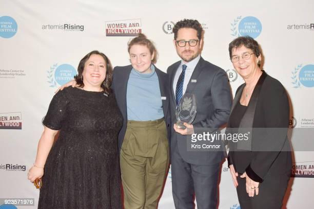 Melissa Silverstein Lena Dunham JJ Abrams and Kathryn Kolbert attend the 2018 Athena Film Festival Awards Ceremony at The Diana Center At Barnard...