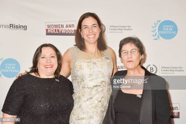 Melissa Silverstein Sian Beilock and Kathryn Kolbert attend the 2018 Athena Film Festival Awards Ceremony at The Diana Center At Barnard College on...