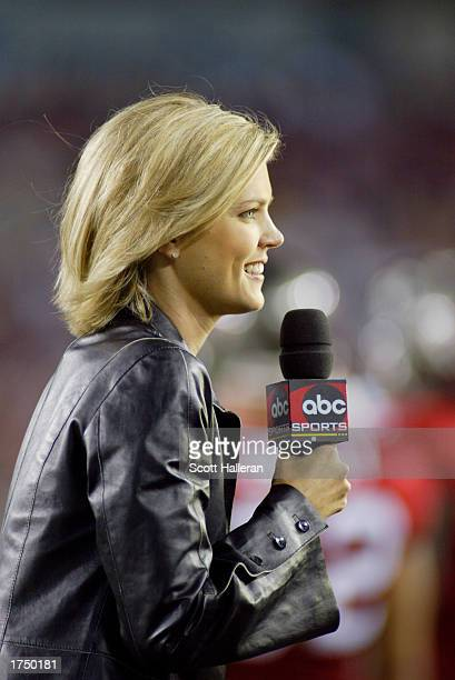 Melissa Stark of ABC reports from the field during the game between the Tampa Bay Buccaneers and the Pittsburgh Steelers on December 23 2002 at...