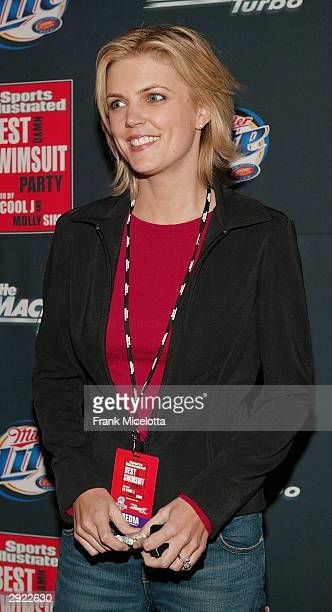 Melissa Stark of ABC Sports arrives for the Sports Illustrated Best Damn Swimsuit Party at Hermann Square on January 31 2004 in Houston Texas