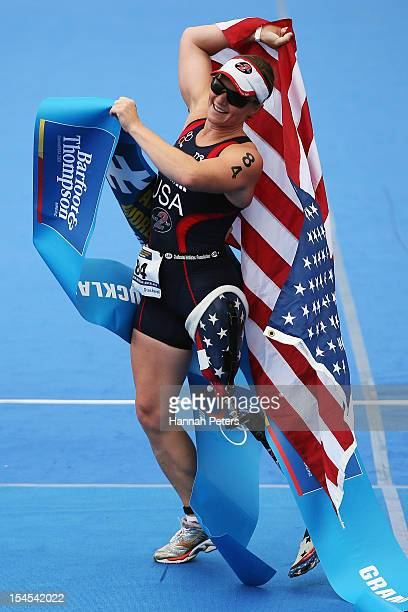 Melissa Stickwell of the United States of America celebrates after winning the Paratriathlon Female Tri-2 race on October 22, 2012 in Auckland, New...