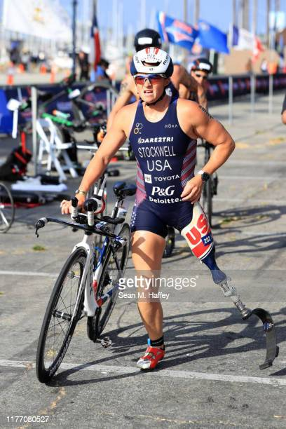 Melissa Stockwell leaves the transition area while competing during the Legacy Triathlon-USA Paratriathlon National Championships on July 20, 2019 in...