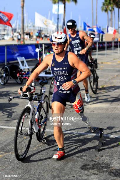 Melissa Stockwell leaves the transition area while competing in the Legacy Triathlon-USA Paratriathlon National Championships on July 20, 2019 in...