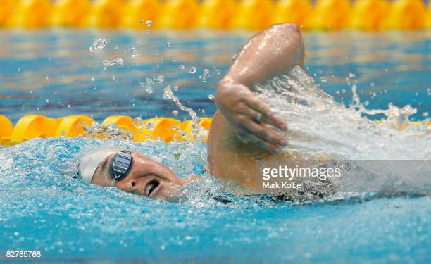 Melissa Stockwell of the United States competes in the women's 400m freestyle S9 Swimming event at the National Aquatics Centre during day six of the...