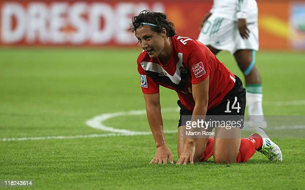 Melissa Tancredi of Canada looks dejected during the FIFA Women's World Cup 2011 Group A match between Canada and Nigeria at RudolfHarbigStadion on...