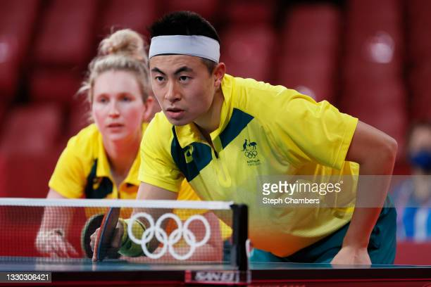 Melissa Tapper and Hu Heming of Team Australia in action during their Mixed Doubles Round of 16 on day one of the Tokyo 2020 Olympic Games at Tokyo...