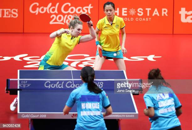 Melissa Tapper and Tracy Feng of Australia compete during the Table Tennis women team round against Mauritius on day one of the Gold Coast 2018...