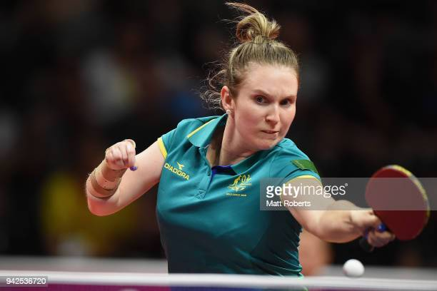 Melissa Tapper of Australia competes during the Table Tennis Women's Team quarter final against Wales on day two of the Gold Coast 2018 Commonwealth...