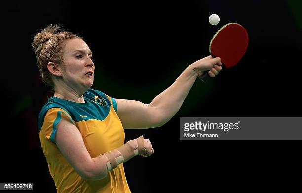 Melissa Tapper of Australia plays a Women's Singles preliminary match against Caroline Kumahara of Brazil on Day 1 of the Rio 2016 Olympic Games at...