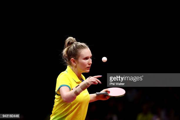 Melissa Tapper of Australia serves in her Womens Team match against Tianwei Feng of Singapore during Table Tennis on day four of the Gold Coast 2018...