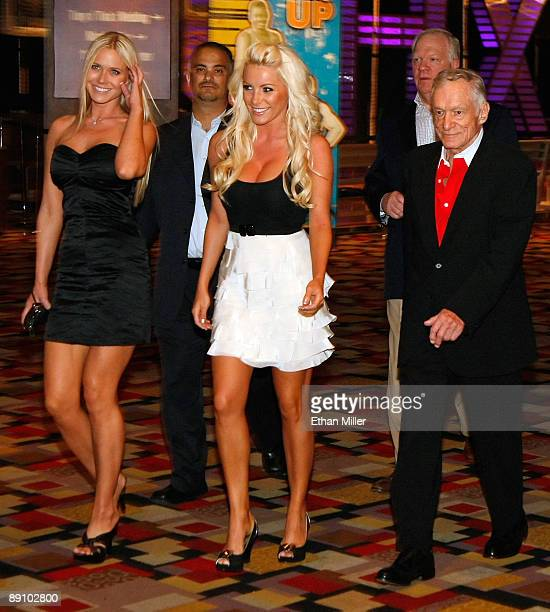 Melissa Taylor Crystal Harris and Playboy founder Hugh Hefner arrive at the adult production PEEPSHOW starring Hefner's former girlfriend Holly...