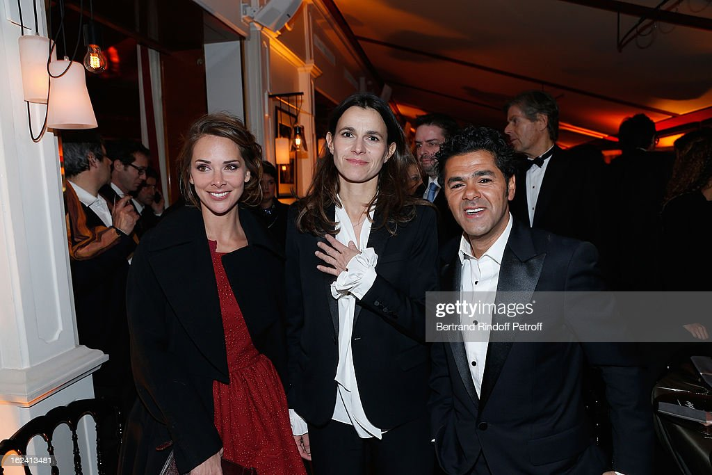 Melissa Theuriau, Aurelie Filippetti and Jamel Debbouze attend the Cesar Film Awards 2013 at Le Fouquet's on February 22, 2013 in Paris, France.