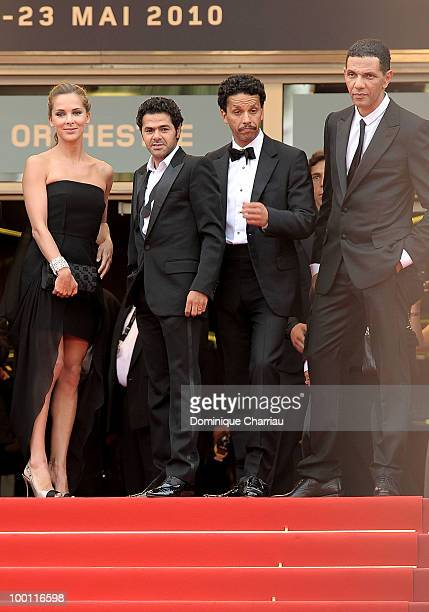 Melissa Theuriau Jamel Debbouze Sami Bouajila and Roschdy Zem attend the 'Outside the Law' Premiere at the Palais des Festivals during the 63rd...