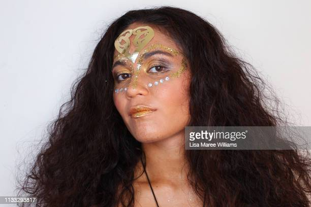 Melissa Thompson prepares to participate in Mardi Gras on March 02 2019 in Sydney Australia It is the first time Haka For Life have had a float in...