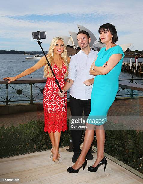 Melissa Tkautz and Lisa Oldfield are interviewed during a media call to announce the cast of The Real Housewives of Sydney at the Park Hyatt on July...