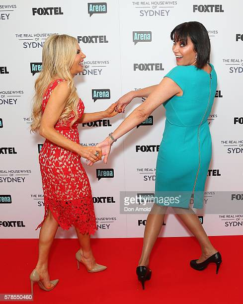 Melissa Tkautz and Lisa Oldfield pose during a media call to announce the cast of The Real Housewives of Sydney at the Park Hyatt on July 22 2016 in...
