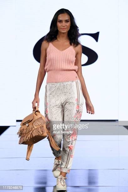 Melissa Varon walks the runway during CARMEN STEFFENS At New York Fashion Week Powered by Art Hearts Fashion NYFW September 2019 at The Angel...