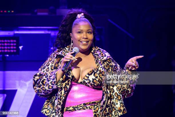 Melissa Viviane Jefferson aka Lizzo performs during her set as the opening act before Haim's 2018 North American Sister Sister Sister tour on May 7...