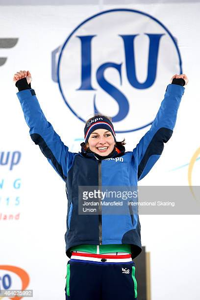 Melissa Wijfje of the Netherlands celebrates before being awarded the Gold medal after winning the Women's 3000m during day two of the ISU World...