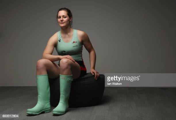 Melissa Wilson of Cambridge poses after the women's crew announcement for the 2017 Cancer Research UK University Boat Races at Francis Crick...