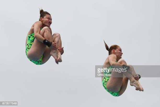 Melissa Wu and Taneka Kovchenko of Australia compete in the womens 10m synchro final during the FINA Gold Coast Diving Grand Prix at the Gold Coast...