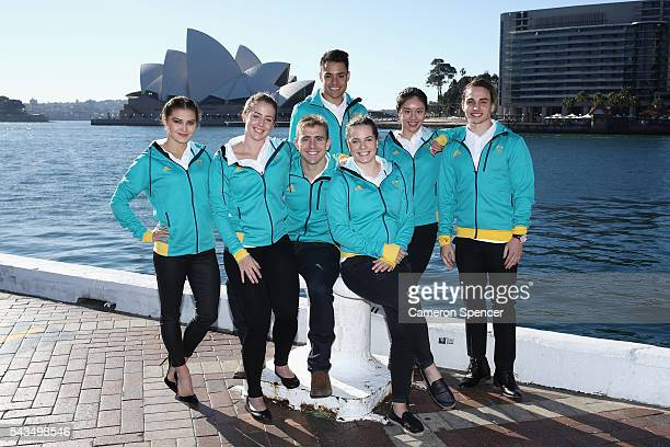 Melissa Wu, Brittany Broben, Grant Nel, Kevin Chavez, Annabelle Smith, Esther Qin and Domonic Bedggood of the Australian Olympic Diving team pose...