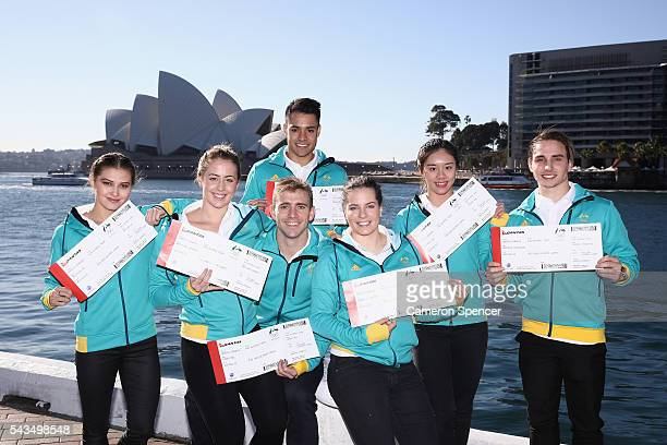 Melissa Wu Brittany Broben Grant Nel Kevin Chavez Annabelle Smith Esther Qin and Domonic Bedggood of the Australian Olympic Diving team pose...