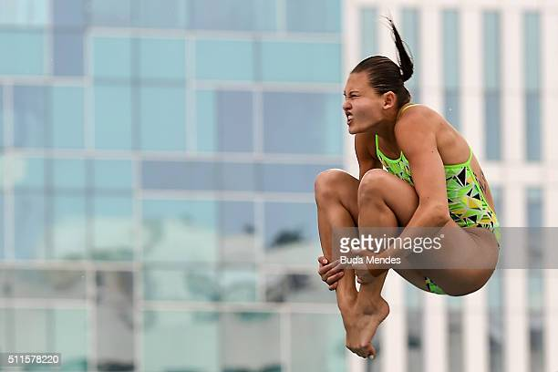 Melissa Wu of Australia competes in the women's 10m semifinal springboard as part of the 2016 FINA Diving World Cup at Maria Lenk Aquatics Centre on...