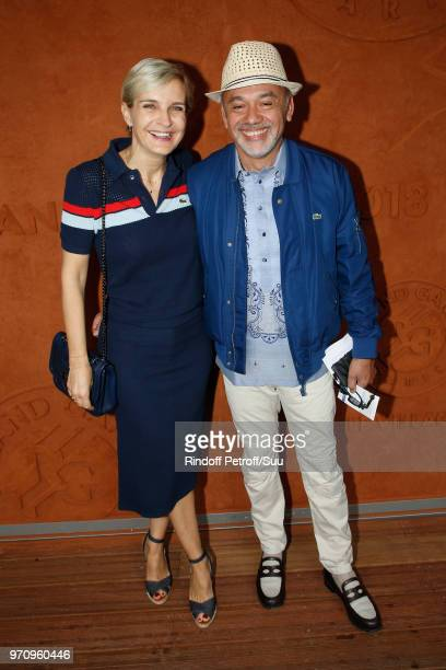 Melita Toscan du Plantier and Christian Louboutin attend the Men Final of the 2018 French Open - Day Fithteen at Roland Garros on June 10, 2018 in...