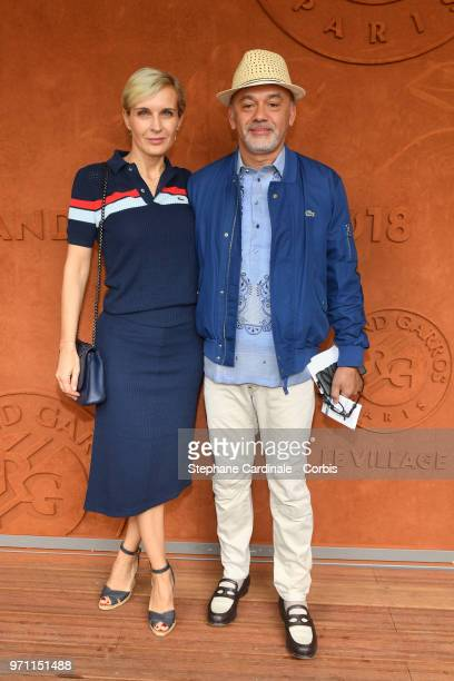 Melita Toscan Du Plantier and Christian Louboutin attend the Men Final of the 2018 French Open Day Fithteen at Roland Garros on June 10 2018 in Paris...