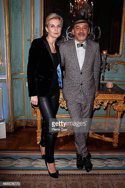 Melita Toscan du Plantier and Christian Louboutin attend the T The New York Times Style Magazine Party as part of the Paris Fashion Week Womenswear...