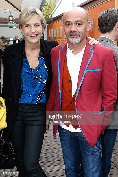 Melita Toscan Du Plantier and Christian Louboutin sighting at the Roland Garros Tennis French Open 2013 Day 15 on June 9 2013 in Paris France
