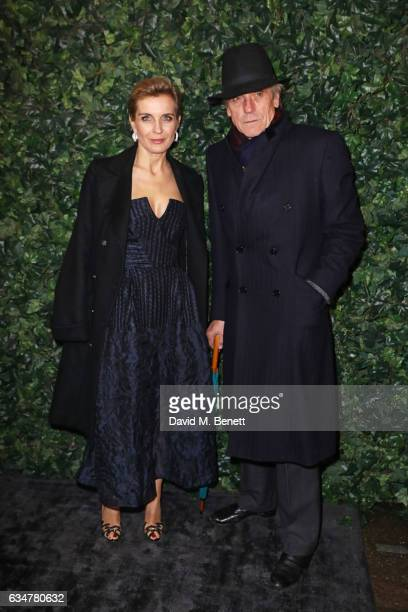 Melita Toscan Du Plantier and Jeremy Irons attend a preBAFTA party hosted by Charles Finch and Chanel at Annabel's on February 11 2017 in London...
