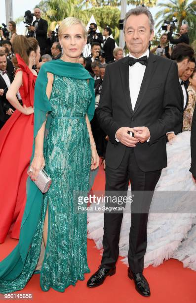 """Melita Toscan du Plantier and Michel Denisot attend the screening of """"Everybody Knows """" and the opening gala during the 71st annual Cannes Film..."""
