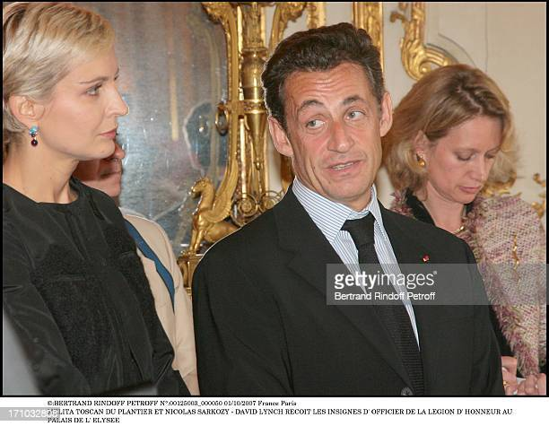 Melita Toscan Du Plantier and Nicolas Sarkozy David Lynch is made Officer of the Legion of Honor at the Elysee palace