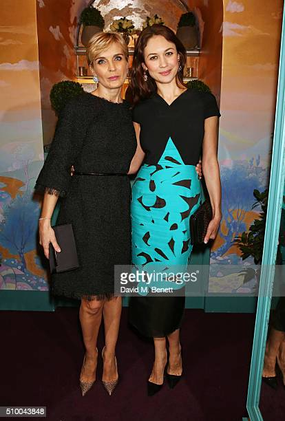 Melita Toscan Du Plantier and Olga Kurylenko attend the Charles Finch and Chanel PreBAFTA cocktail party and dinner at Annabel's on February 13 2016...