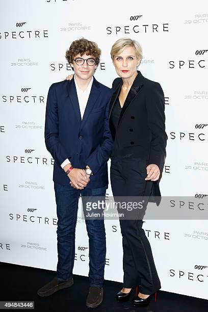 Melita Toscan du Plantier and son attend 007 Spectre Paris Premiere at Le Grand Rex on October 29 2015 in Paris France