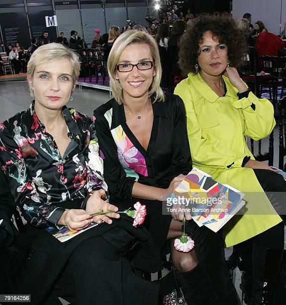 Melita Toscan du Plantier Laurence Ferrari and Victor Lazlo attend the Christian Lacroix Haute Couture Spring/Summer 2008 show during Paris Fashion...