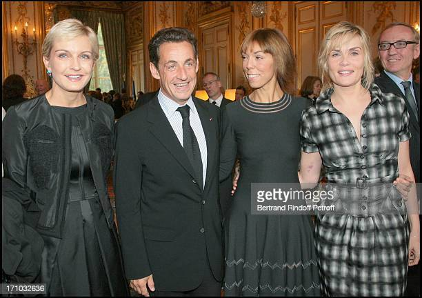 Melita Toscan Du Plantier Nicolas Sarkozy Mathilde Agostinelli and Emmanuelle Seigner David Lynch is made Officer of the Legion of Honor at the...