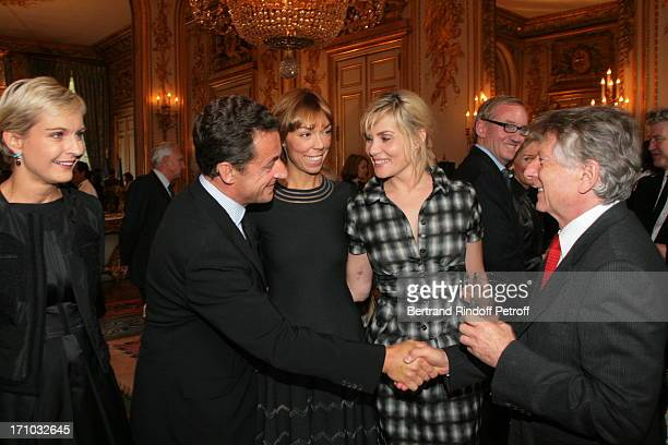 Melita Toscan Du Plantier Nicolas Sarkozy Mathilde Agostinelli Emmanuelle Seigner and Roman Polanski David Lynch is made Officer of the Legion of...