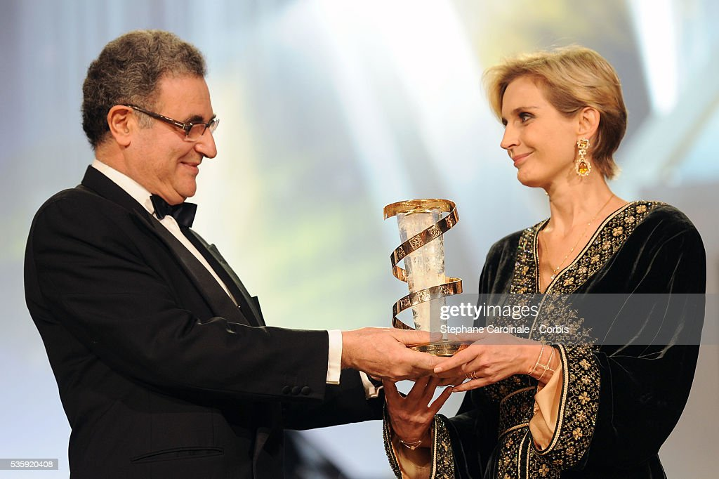 Melita Toscan du Plantier received the Tribute Prize to Daniel Toscan du Plantier by Serge Tubiana (Director of the French Cinematheque) during the Opening Ceremony of the Marrakech 10th Film Festival.