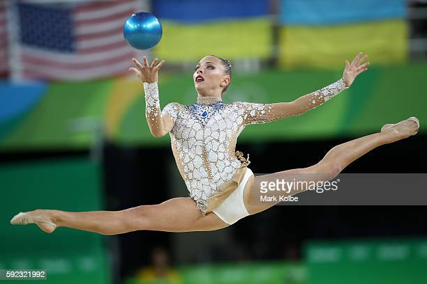 Melitina Staniouta of Belarus competes during the Women's Individual All-Around Rhythmic Gymnastics Final on Day 15 of the Rio 2016 Olympic Games at...