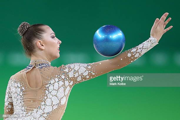 Melitina Staniouta of Belarus competes during the Women's Individual AllAround Rhythmic Gymnastics Final on Day 15 of the Rio 2016 Olympic Games at...