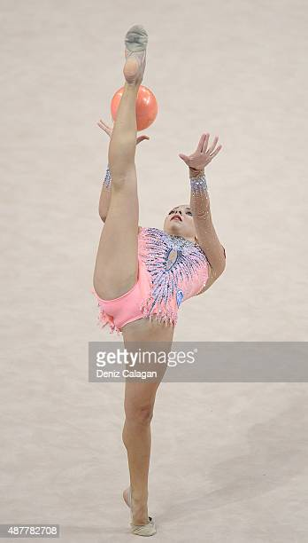 Melitina Staniouta of Belarus competes with ball during the 34th Rhythmic Gymnastics World Championships 2015 on September 11 2015 in Stuttgart...